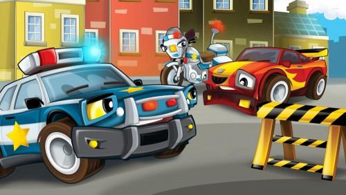 kreskowki-scena-policyjna-pogon-samochod-lapiaca-ilustracja-dla-dzieci