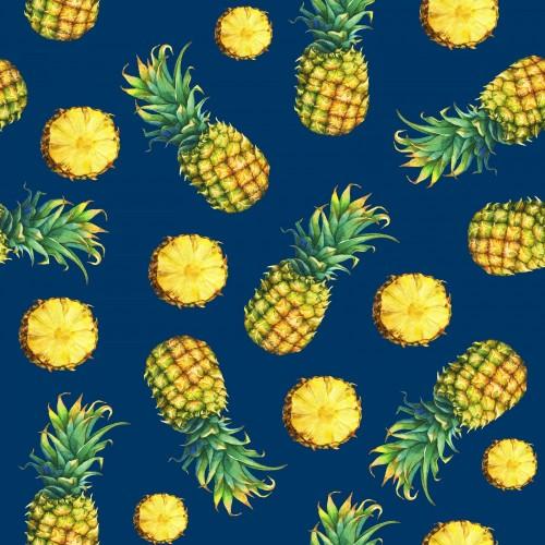 bezszwowy-wzor-swiezy-owocowy-ananas-z-zielonymi-liscmi-recznie-rysowane-akwarela-malarstwo-na-pomaranczowo-niebieskie-tlo