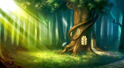 cyfrowo-pomalowany-magiczny-las-z-domkiem-na-drzewie