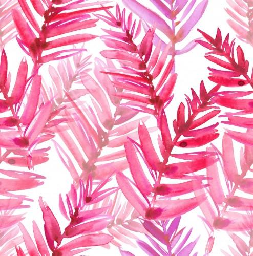 bezszwowy-wzor-z-jaskrawymi-rozowymi-palmowymi-liscmi-malowal-w-akwareli-na-bialym-odosobnionym-tle