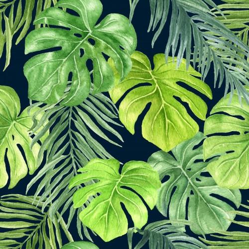 akwareli-palma-opuszcza-wielostrzalowego-wzor-reka-rysujaca-kolorowa-tropikalna-botaniczna-bezszwowa-tlo-ilustracja-na-zmroku