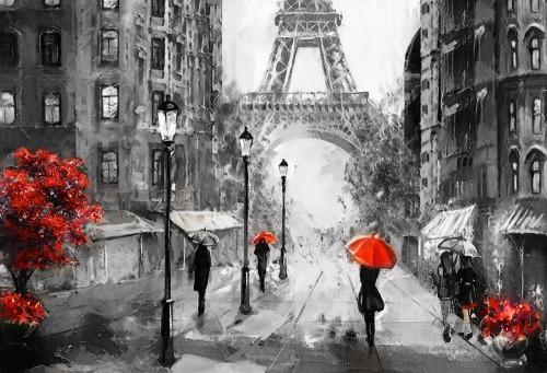 obraz-olejny-na-plotnie-widok-na-ulice-paryza-grafika-wieza-eiffla-ludzie-pod-czerwonym-parasolem-drzewo-francja
