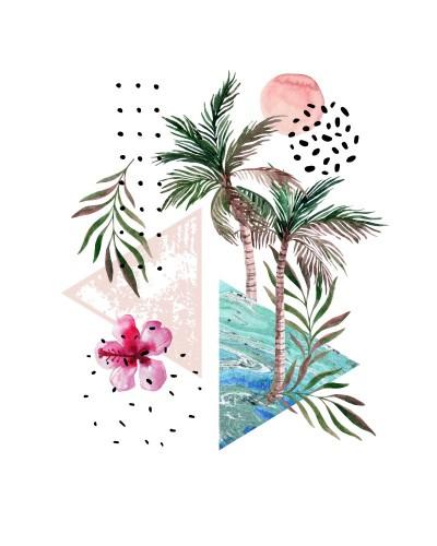streszczenie-plakat-akwarela-palmy-liscie-kwiat-hibiskusa-marmurowe-trojkaty