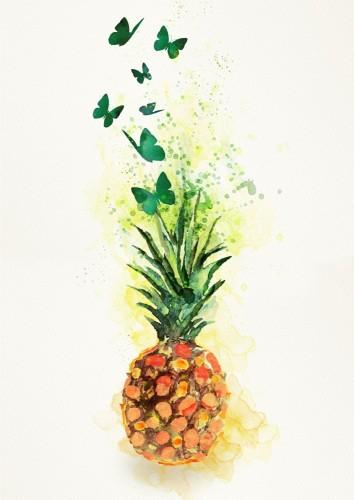 ananas-element-projektu-akwarela-na-bialym-tle