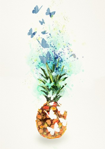 ananas-element-projektu-akwarela-bacground