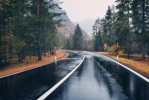 droga-w-jesien-lesie-w-deszczu-doskonala-asfaltowa-gorska-droga-w-pochmurny-deszczowy-dzien-jezdnia-z-odbiciem-i-sosnami-w-wloskich