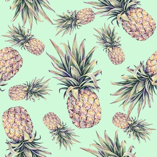 ananasy-na-jasnozielonym-tle-akwarela-kolorowych-ilustracji-owoc-tropikalny-bezszwowy-wzor