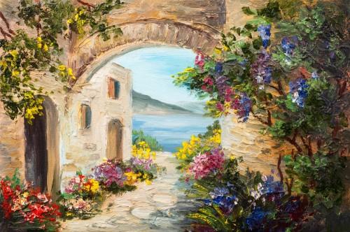 obraz-olejny-dom-blisko-morza-kolorowe-kwiaty-krajobraz-lato