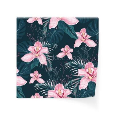 0ce2a8a187ff5a jednolite-wzor-z-kwiatami-orchid-kolorowe-tropikalne-liscie-