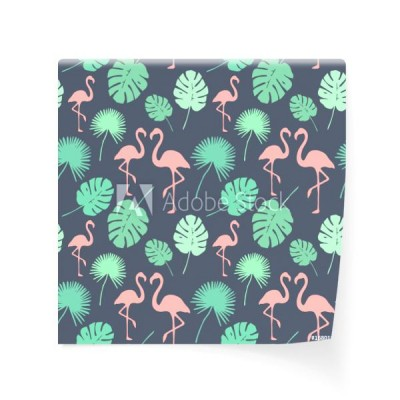 modne-tlo-flamingo-tropical-pattern-endless