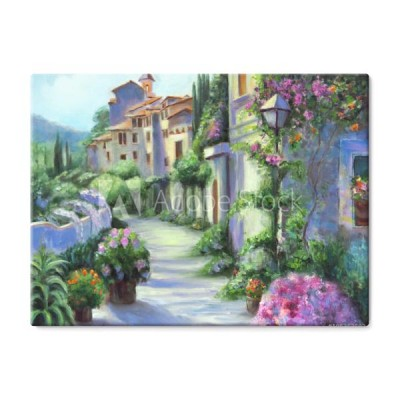 art-oil-painting-picture-flower-street-in-sunny-day